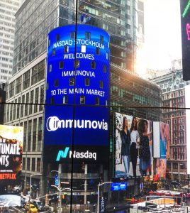 Immunovia being noted on Nasdaq Stockholm on April 3, 2018